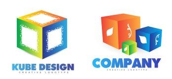 logotipo do cubo 3D Imagem de Stock Royalty Free