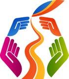 Logotipo do cuidado da folha Imagens de Stock Royalty Free