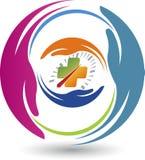 Logotipo do cuidado da movimentação da segurança ilustração royalty free