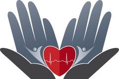 Logotipo do cuidado do coração ilustração stock