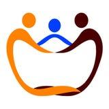 Logotipo do cuidado dos povos ilustração stock