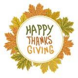 Logotipo do dia da ação de graças com folhas de outono Quadro do círculo das folhas de outono ilustração do vetor