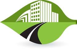 Logotipo do edifício da folha ilustração royalty free