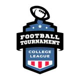 Logotipo do emblema do competiam da faculdade do futebol Ilustração do vetor ilustração stock