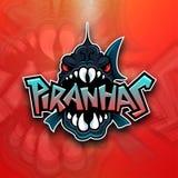 Logotipo do emblema das piranhas para a equipe de esportes Imagens de Stock