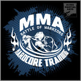 Logotipo do encaixotamento e das artes marciais, crachá ou etiqueta no estilo do vintage Imagem de Stock