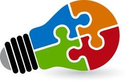 Logotipo do enigma da lâmpada Fotografia de Stock