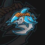 Logotipo do esporte do tubarão e ilustração royalty free