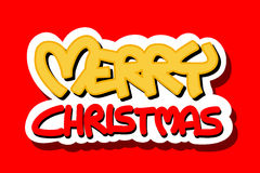 Logotipo do Feliz Natal no fundo vermelho Foto de Stock Royalty Free