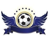 Logotipo do futebol com fita e asas Imagens de Stock Royalty Free