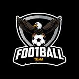 Logotipo do futebol com vetor da ilustração da águia ilustração royalty free