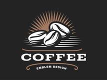 Logotipo do grão de café - vector a ilustração, emblema no fundo preto ilustração do vetor