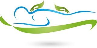 Logotipo do homem e das mãos, da massagem e da ortopedia ilustração stock