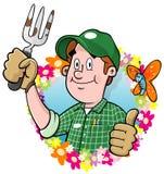 Logotipo do jardineiro dos desenhos animados Foto de Stock