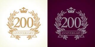 logotipo do luxo de 200 aniversários Imagens de Stock Royalty Free