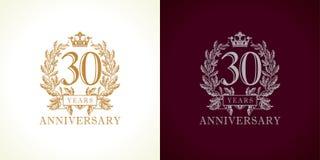 logotipo do luxo de 30 aniversários Fotos de Stock Royalty Free