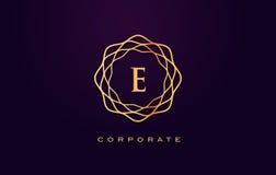 Logotipo do luxo de E Vetor do projeto de letra do monograma ilustração stock