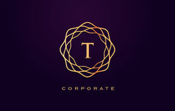 Logotipo do luxo de T Vetor do projeto de letra do monograma ilustração royalty free