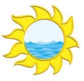 Logotipo do mar e do Sun Imagens de Stock Royalty Free