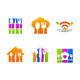 Logotipo do menu do sinal do ícone do serviço do restaurante Foto de Stock