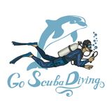 Logotipo do mergulho autônomo Mergulhador com mergulhador Imagens de Stock
