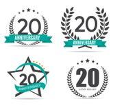 Logotipo do molde 20 anos de ilustração ajustada do vetor do aniversário Imagens de Stock Royalty Free
