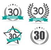 Logotipo do molde 30 anos de ilustração ajustada do vetor do aniversário Imagens de Stock Royalty Free