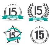 Logotipo do molde 15 anos de ilustração ajustada do vetor do aniversário Fotografia de Stock Royalty Free