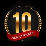 Logotipo do molde 10 do aniversário anos de ilustração do vetor Imagens de Stock Royalty Free