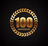 Logotipo do molde 100 do aniversário anos de ilustração do vetor Imagens de Stock