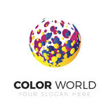 Logotipo do mundo da cor ilustração stock