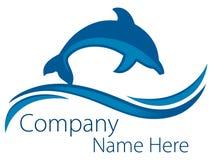 Logotipo do oceano do golfinho ilustração stock