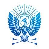 Logotipo do pássaro de Phoenix Logotipo flaing do vetor do pássaro do pavão Projeto geométrico abstrato da tatuagem de Firebird ilustração stock