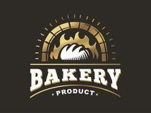 Logotipo do pão - ilustração do vetor Emblema da padaria no fundo preto ilustração stock
