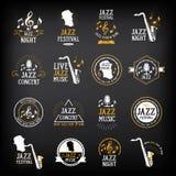 Logotipo do partido da música jazz e projeto do crachá Vetor com gráfico Fotos de Stock Royalty Free