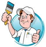 Logotipo do pintor de casa dos desenhos animados Imagens de Stock