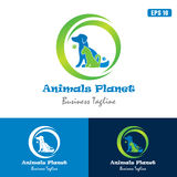 Logotipo do planeta/negócio animais Logo Idea do projeto vetor do ícone ilustração royalty free