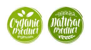 Logotipo do produto orgânico, natural ou etiqueta Elemento para o restaurante ou o café do menu do projeto Rotulação escrita à mã ilustração stock