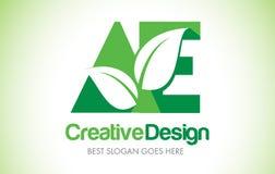 Logotipo do projeto de letra da folha do verde da AE Ícone Illus da letra da folha de Eco bio Fotografia de Stock Royalty Free