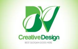 Logotipo do projeto de letra da folha do verde da BV Ícone Illus da letra da folha de Eco bio Foto de Stock