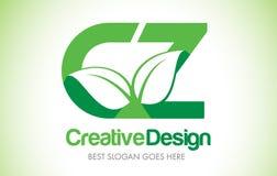 Logotipo do projeto de letra da folha do verde da CZ Ícone Illus da letra da folha de Eco bio Imagens de Stock Royalty Free
