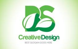 Logotipo do projeto de letra da folha do verde das BS Ícone Illus da letra da folha de Eco bio Imagem de Stock