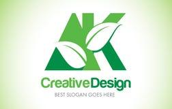 Logotipo do projeto de letra da folha do verde de AK Ícone Illus da letra da folha de Eco bio Fotografia de Stock