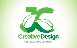 Logotipo do projeto de letra da folha do verde de JC Ícone Illus da letra da folha de Eco bio Imagem de Stock