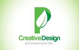 Logotipo do projeto de letra da folha do verde de P Ícone Illust da letra da folha de Eco bio Imagens de Stock Royalty Free