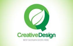 Logotipo do projeto de letra da folha do verde de Q Ícone Illust da letra da folha de Eco bio Fotos de Stock Royalty Free