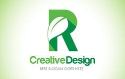 Logotipo do projeto de letra da folha do verde de R Ícone Illust da letra da folha de Eco bio Foto de Stock