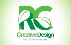 Logotipo do projeto de letra da folha do verde de RC Ícone Illus da letra da folha de Eco bio Fotos de Stock Royalty Free