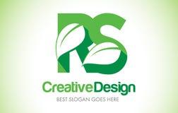 Logotipo do projeto de letra da folha do verde de RS Ícone Illus da letra da folha de Eco bio Imagens de Stock