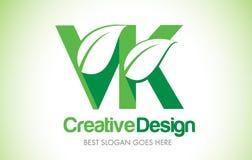 Logotipo do projeto de letra da folha do verde de VK Ícone Illus da letra da folha de Eco bio Imagem de Stock Royalty Free